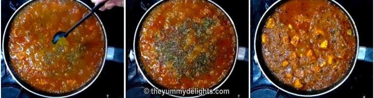 addition of kasuri methi and garam masala for making dhaba style paneer masala recipe
