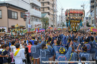 Photo: 【平成27年(2015) 本宮】 夜間渡御。大人・小人神輿で神輿もみの共演