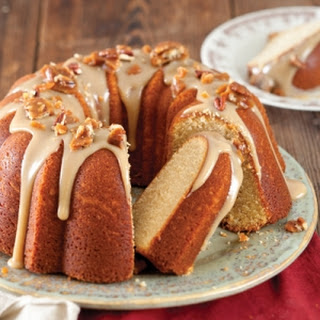 Praline Bundt Cake with Salted Caramel Sauce