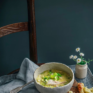 Creamy Chicken & Leek Soup with Cheesy Scones