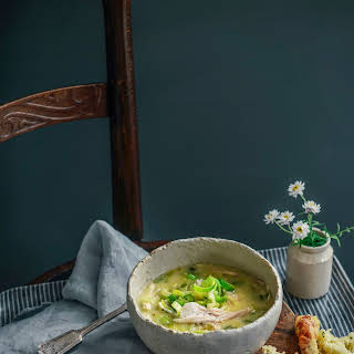 Creamy Chicken & Leek Soup with Cheesy Scones.