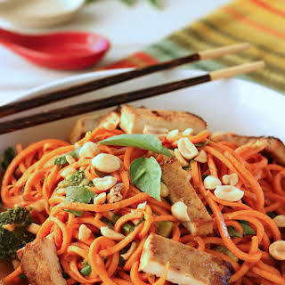 "Sesame Peanut Sweet Potato ""Noodles"" with Tofu {Meatless Monday}."
