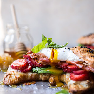 Strawberry, Basil and Crispy Prosciutto Breakfast Sandwich.