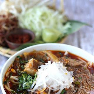 Bun Bo Hue, Vietnamese spicy beef noodle soup.