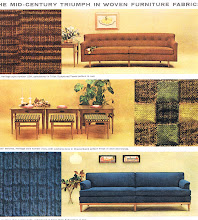 Photo: This was an ad for new fabrics made by U.S. Rubber. The center panel features cocktail benches.