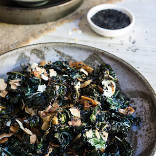 Kale Salad With Toasted Coconut And Sesame Oil.