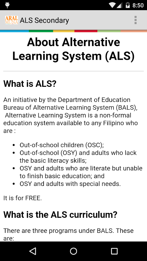 essay on alternative learning system Free essay: alternative learning system accreditation & equivalency (als a&e) system what are the legal bases of the alternative learning system.