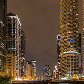 Marina Tower and Traffic by Sue Matsunaga - City,  Street & Park  Night