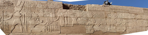 frieze.jpg - A panorama of a frieze depicting pharoahs and other ancient figures in the precinct of Amun in Karnak Temple at Luxor, Egypt.