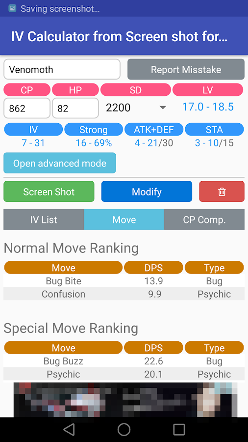 IV Calc Screen Shot for PokéGO- screenshot