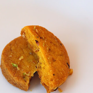 Eggless Saffron Cookies Laced With Pistachios.