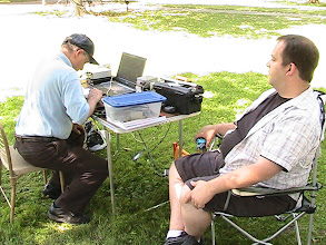 Photo: Kevin Laybourn listens as Earl Wilson K6GPB calls CQ TTF