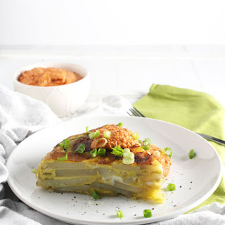 Tortilla Española (Spanish Omelette) with Roasted Red Pepper Sauce.