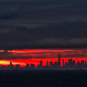Red Dawn by Robert Gallucci - City,  Street & Park  Skylines ( skyline, nyc, sunrise, cityscape, landscape )
