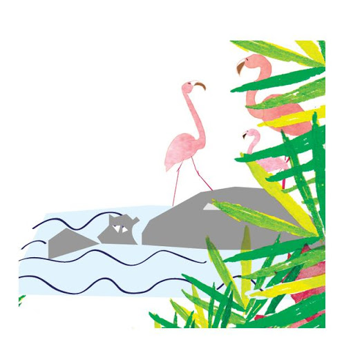 Détail hippopotame et flamands roses - Affiche personnalisées - Illustre ALbert - part à l'aventure - jungle
