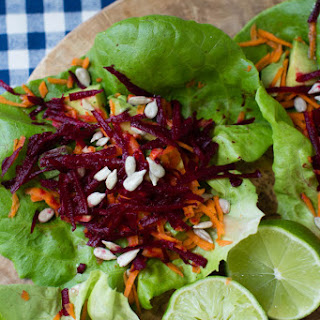 Avocado, Beet, and Carrot Salad Wraps.