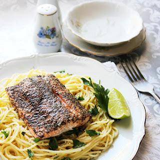 Baked Salmon with Spaghetti Al Limone.