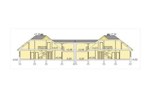 Akacja II bliźniak wersja B z pojedynczym garażem - Przekrój