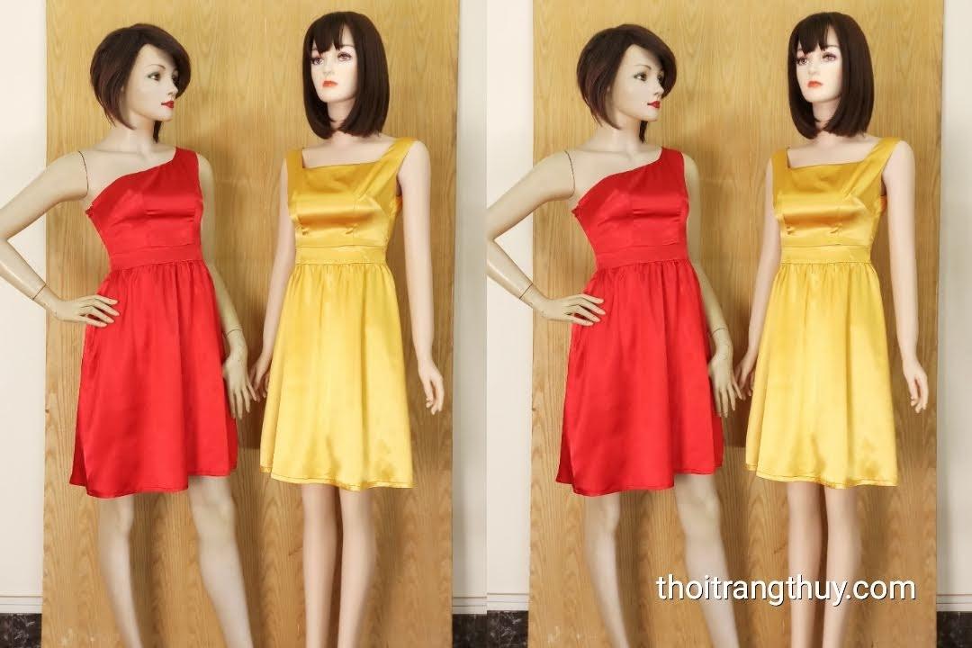 Váy dự tiệc lệch vai và hai dây dáng xòe V617 Thời Trang Thủy
