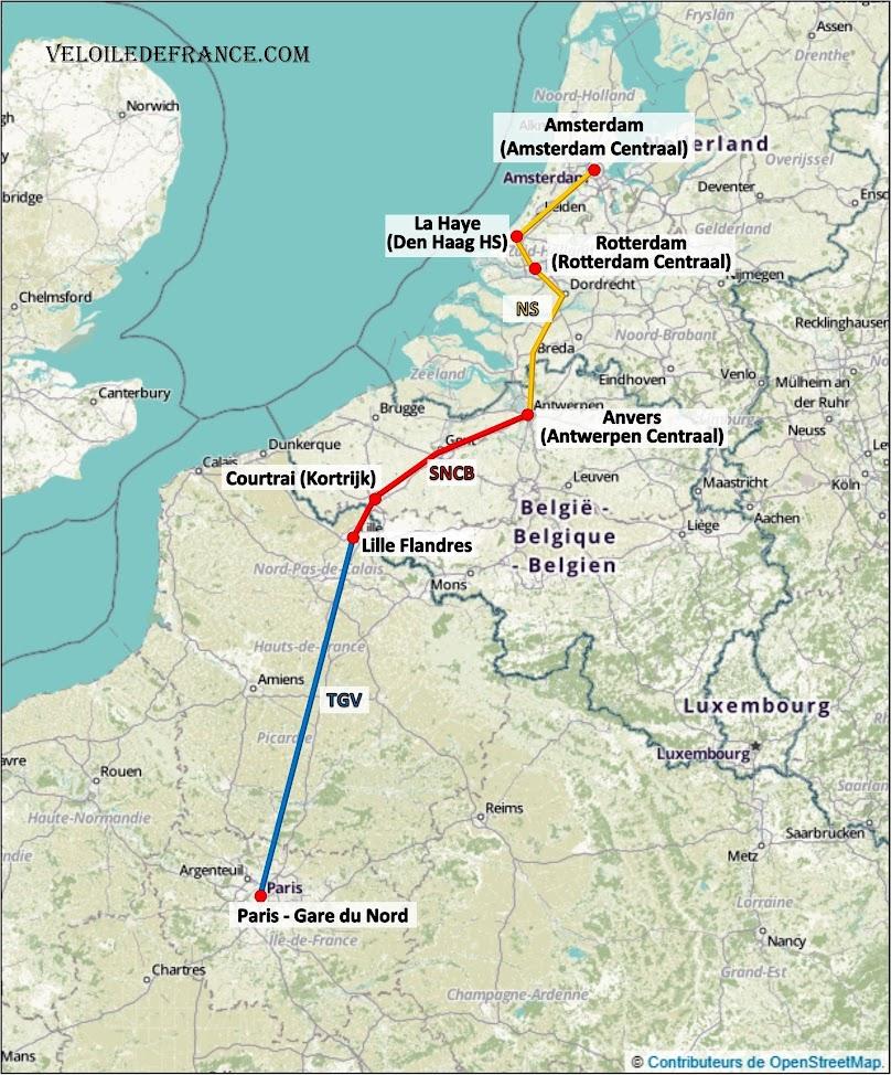 Trajets en train autres que le Thalys pour aller depuis Paris Gare du Nord vers Amsterdam