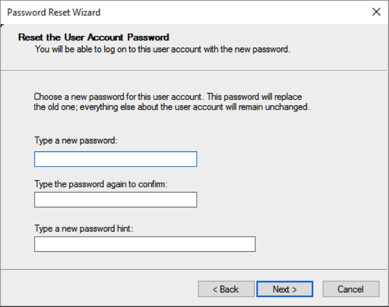 Password reset wizard