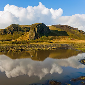 by Steve Corcoran - Landscapes Mountains & Hills ( clouds, reflection, iceland, sky, pwcreflections, lake, rocks )