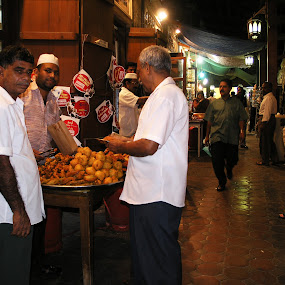 Souk Grub by Andrea Willmore - City,  Street & Park  Markets & Shops ( market, dubai, food, street, souk, night, local, men, snack, textile souk )