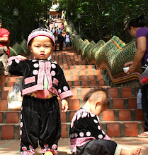 Photo: Day 336 - Little Boys in Hill Tribe  Dress at the Wat in  Doi Suthep