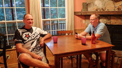 Photo: Mick and Mark relaxing in the cabin