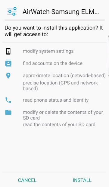 AirWatch Samsung ELM Service screenshot 1