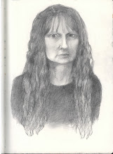 """Photo: Self-Portrait Study, 21cm x 29cm, 8"""" x 11.5"""", 2012, Moleskine folio Sketchbook, graphite.  A study for a self-portrait that I plan to paint... will have to try a few more sketches, I guess. Not quite right, but recognizable enough. Just did this one now, after a frigid dog walk. I do look so serious, but then, I am. :) Though pretty much always smile, guess I was very intently drawing here - in a dark room, too. 2B pencil. Note to self: smile a little when you do the painting. :)"""