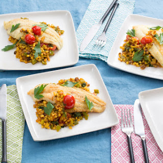 Seared Catfish & Fregola Sarda with Tomatoes, Bell Pepper & Rainbow Chard