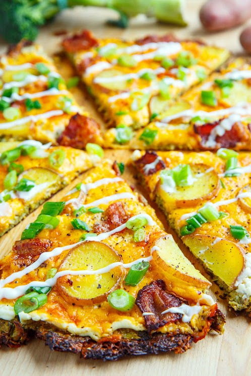 Loaded Baked Potato Broccoli Crust Pizza