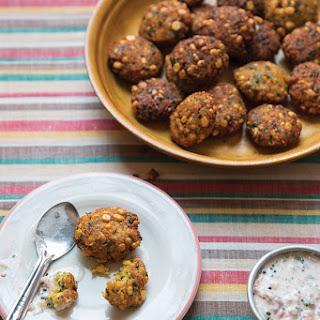 Vadai Pachadi (Pigeon Pea Fritters with Yogurt-Tomato Sauce)