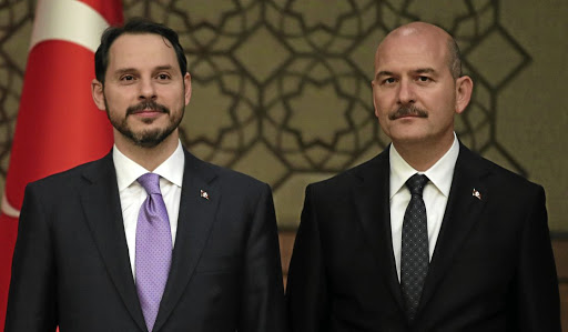 Turkish President Tayyip Erdogan's son-in-law and treasury and finance minister, Berat Albayrak, left, and Interior Minister Suleyman Soylu at the Presidential Palace in Ankara, Turkey, on July 9 2018. Picture: REUTERS/UMIT BEKTAS