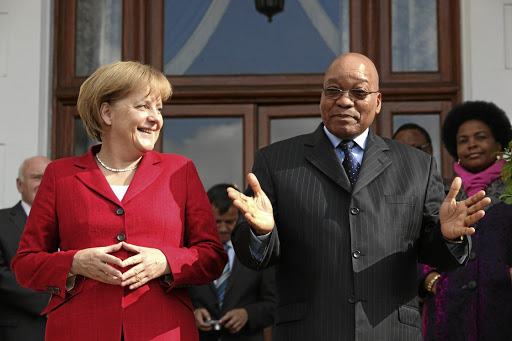 A file picture of German Chancellor Angela Merkel and President Jacob Zuma. Picture: REUTERS/ SHELLEY CHRISTIANS