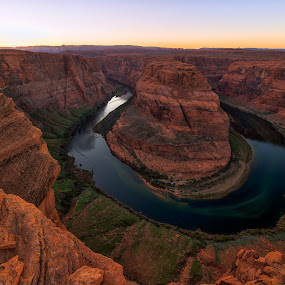 Horseshoe Bend by Bryan Snider - Landscapes Sunsets & Sunrises ( desert, hdr, gorge, bend, colorado, canyon, landscape, horseshoe, colorado river, page, sunset, arizona, horseshoe bend, light,  )