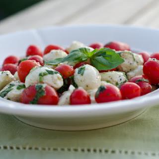 Marinated Mozzarella, Cherry Tomato, and Basil Salad.