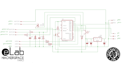 Photo: eLab Hackerspace GSM Access Control System - PIC16F88 Control Board Schematic