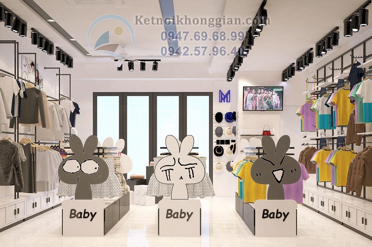thiết kế shop thời trang trẻ em hình thỏ ngộ nghĩnh