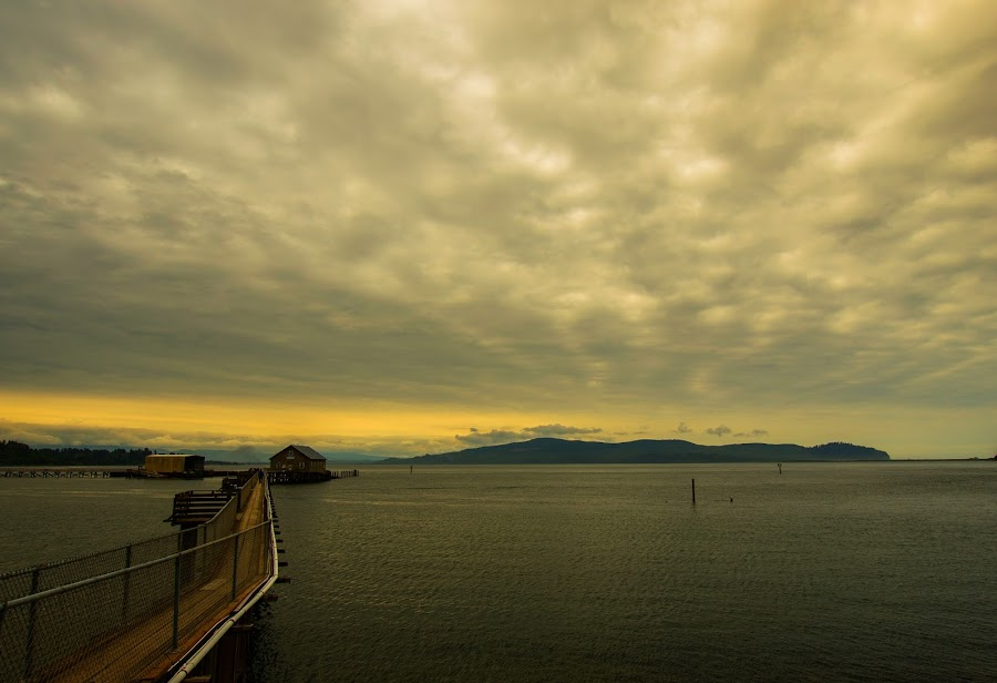 Garibaldi Crabbing Dock by Bob Applegate - Landscapes Waterscapes ( clouds, waterscape, bay, wide angle, dock )