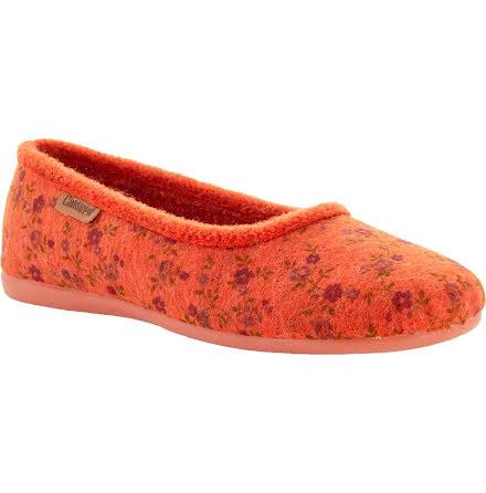 Ester orange textiltoffel ballerina med blomtryck