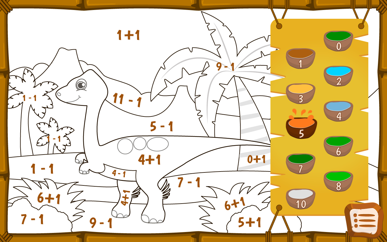 Dino math free dino coloring game for kids picha ya skrini
