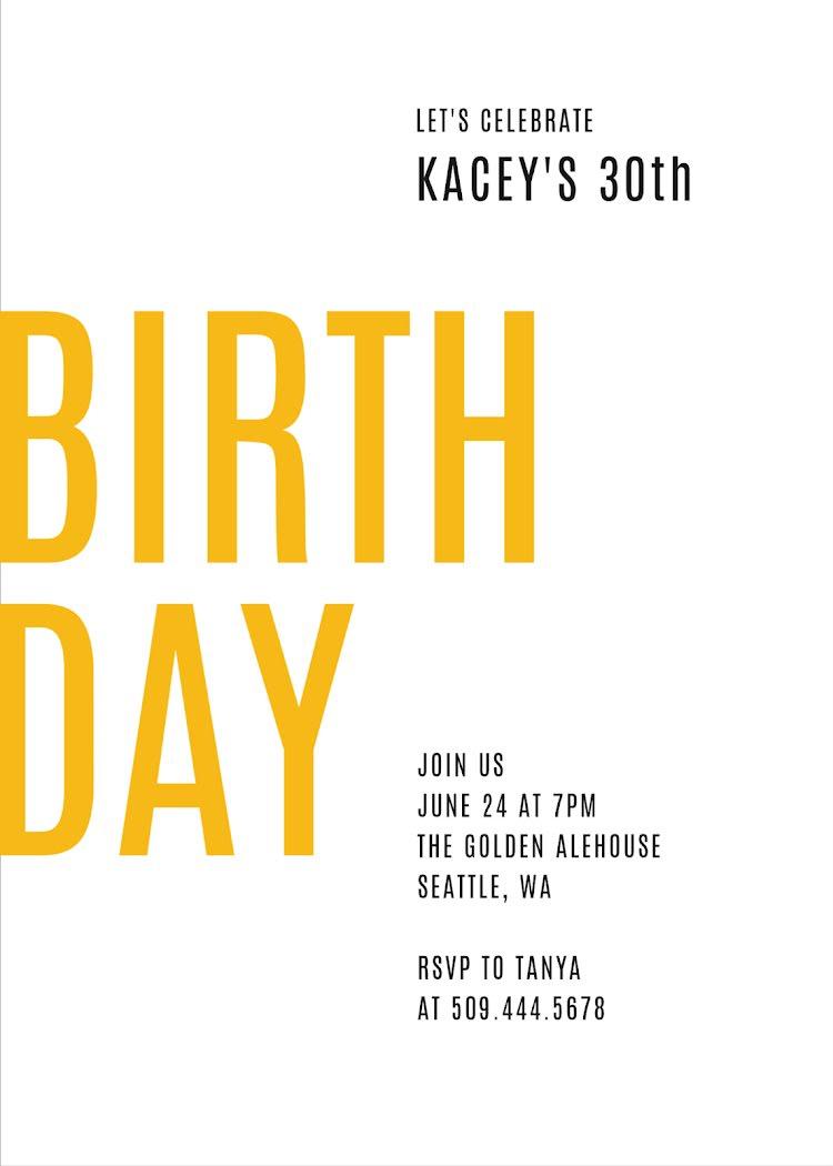 Kacey's 30th Birthday - Birthday Card Template
