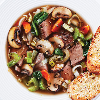 French Onion-Style Beef Vegetable Soup.