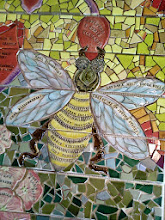 Photo: Saturday, July 20, 2013 Hidden Garden Steps ceramic-tile mosaic preview at St. John of God community hall in San Francisco's Inner Sunset District: Detail of bee below the Tiburon Mariposa, on the third large flight of stairs from the bottom of the Hidden Garden Steps. Project artists Aileen Barr and Colette Crutcher completed this element as part of the 148-step mosaic to be installed on 16th Avenue, between Kirkham and Lawton streets in San Francisco. For more information about the Hidden Garden Steps project, please visit http://hiddengardensteps.org.