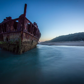 Maheno wreck by Mark Luyt - Transportation Boats ( shipwreck, ocean, blue, beach, long exposure, blue hour )
