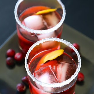 Cranberry Bourbon Negroni with Sugared Rim.