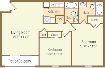 Go to Two Bed, Two Bath Renovated EC Floorplan page.