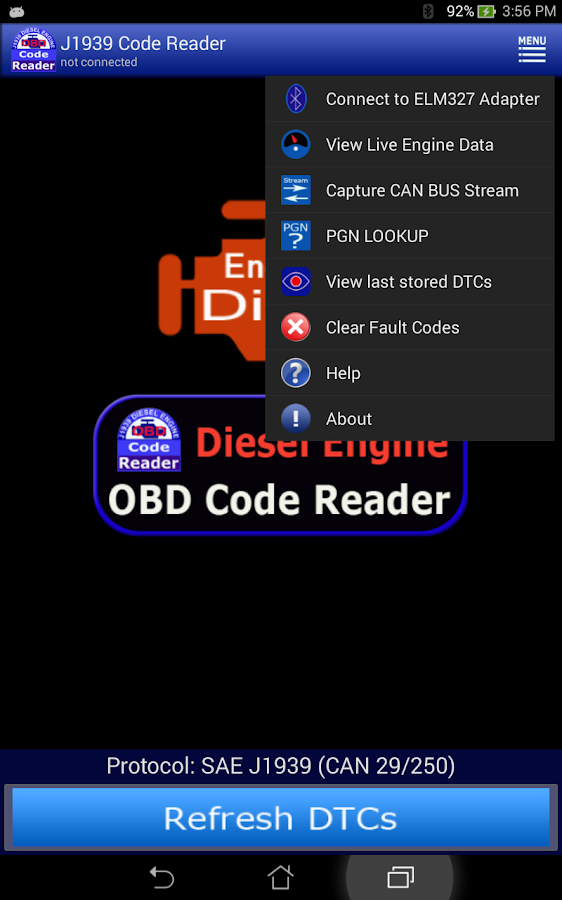 j1939 obd code reader android apps on google play. Black Bedroom Furniture Sets. Home Design Ideas